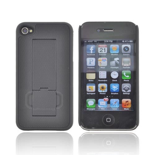 Original PureGear AT&T/ Verizon Apple iPhone 4S, iPhone 4 Rubberized Hard Kickstand Case, 02-001-01076 - Black