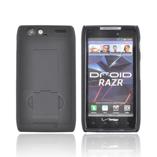 Original PureGear Motorola Droid RAZR Rubberized Hard Kickstand Case, 02-001-01078 - Black