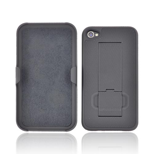 Original PureGear AT&T/ Verizon Apple iPhone 4, iPhone 4S Rubberized Hard Kickstand Case w/Holster, 02-001-01085 - Black