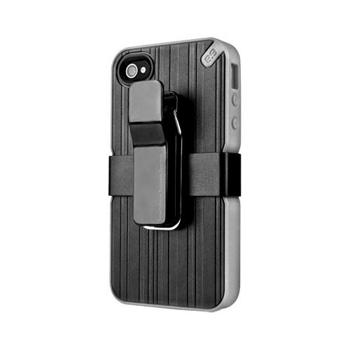 Puregear At&t;/ Verizon Apple Iphone 4, Iphone 4s Hybrid Hard Case W/ Silicone Border, Kickstand, Beltclip & Screen Protector- Black/ Gray