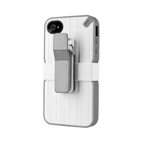 Original PureGear AT&T/ Verizon Apple iPhone 4, iPhone 4S Utilitarian Hybrid Hard Case w/ Silicone Border, Kickstand, Beltclip & Screen Protector, 02-001-01261 - White/ Gray