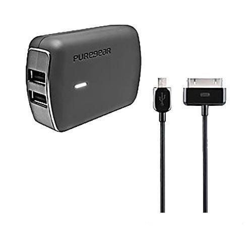 PureGear Black Single USB 2.1A Travel Charger w/ MFI Apple Data Cable (Excluding lightning) & Micro USB Data Cable, 02-001-1223 - Even charge your iPad!