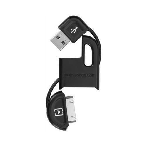 Scosche Black FlipSync II Universal Apple iPod/iPhone (Not Lightning) USB Charge n' Sync Keychain Cable, 026IPUSBM - MFI Certified
