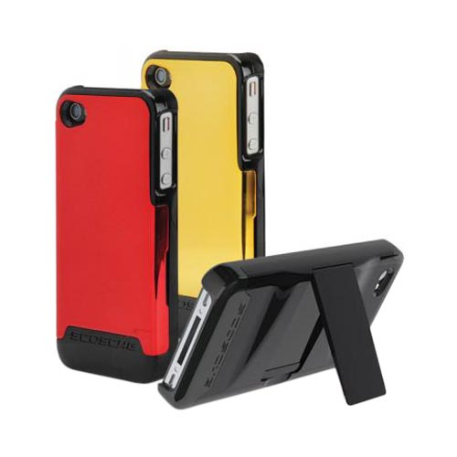 Original Scosche SwitchBack Apple Verizon/ AT&T iPhone 4, iPhone 4S Interchangeable Hard Cases w/ Stand, 028IP4K2D2 - Black/Gold/Red