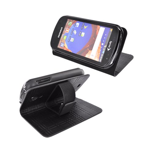 Original Samsung Epic 4G Genuine Leather Protective Wallet w/ Media Stand, 0D-700BLGHPW - Black