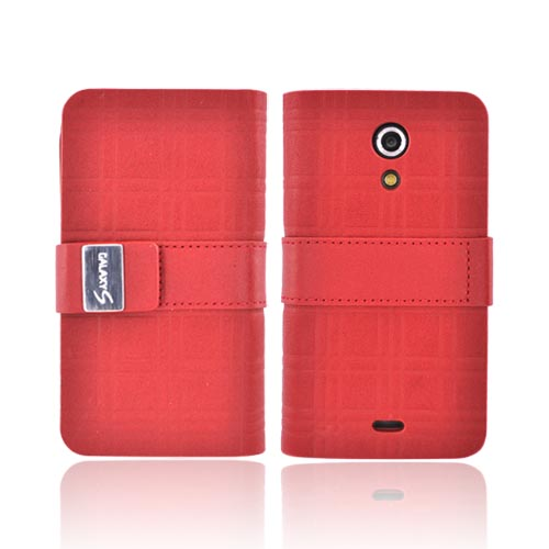 Original Samsung Epic 4G Genuine Leather Protective Wallet w/ Media Stand, 0D700RLGHPW - Red