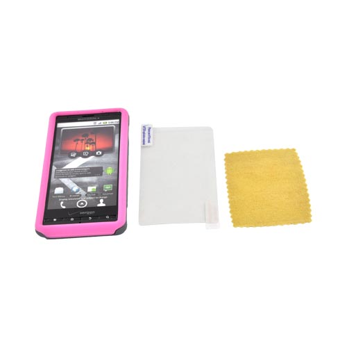 Original Naztech Motorola Droid X MB810 Hard Cover Over Silicone w/ Screen Protector, 11071 - Gray/ Pink