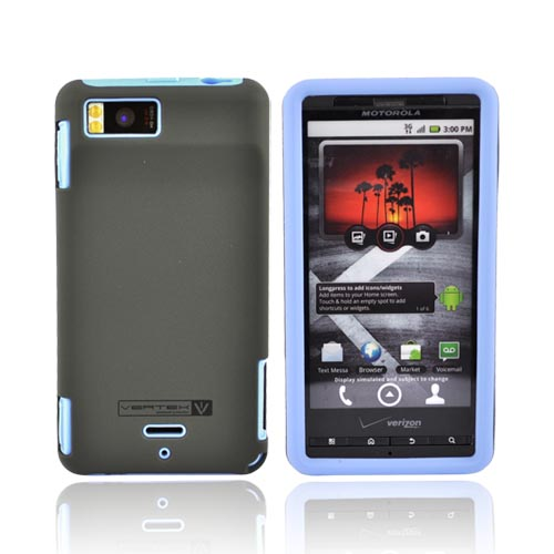 Original Naztech Motorola Droid X MB810 Hard Cover Over Silicone w/ Screen Protector, 110729 - Gray/Blue
