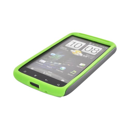 Original Naztech Vertex HTC Sensation 4G Hard Cover Over Silicone w/ Screen Protector - Gray/ Neon Green