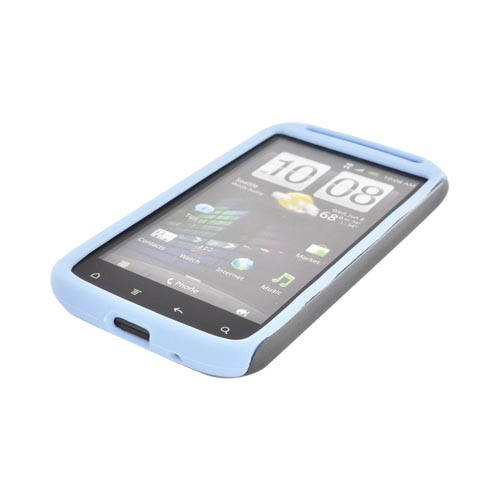 Original Naztech Vertex HTC Sensation 4G Hard Cover Over Silicone w/ Screen Protector - Gray/ Baby Blue