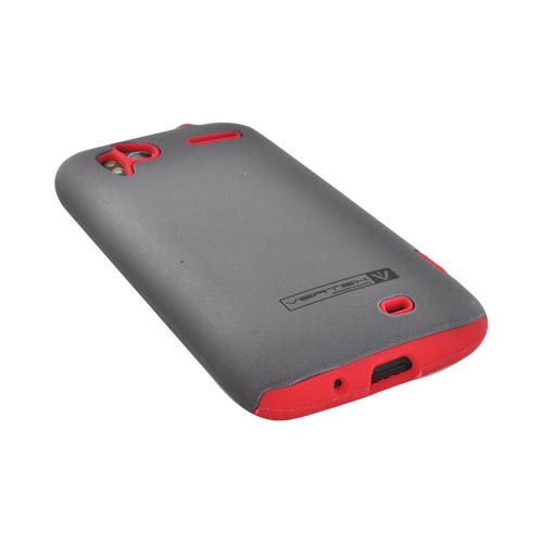 Original Naztech Vertex HTC Sensation 4G Hard Cover Over Silicone w/ Screen Protector - Gray/ Red