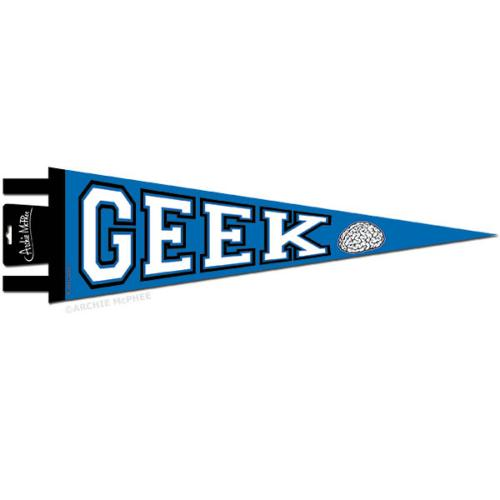 "Blue GEEK Pennant w/ Brain (20"") Says ""Geek!"""