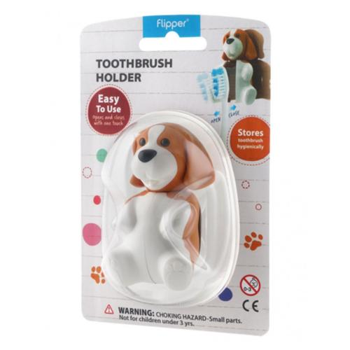 White/ Brown Dog Flipper Toothbrush Holder