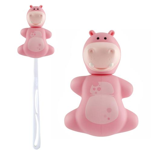 Pink Hippo Flipper Toothbrush Holder