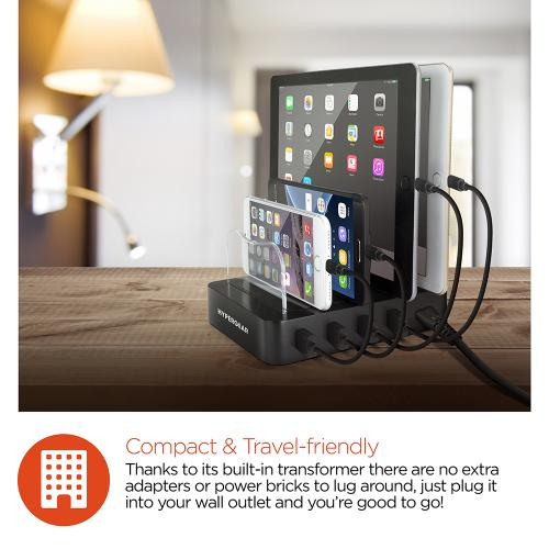Universal Desktop Quad Charger [6.8A] 4 Port Charging Dock - Perfect for Tablets and Phones!