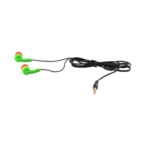 OEM iHip Fashionable Noise Isolating Earbud Headset w/ Mic (3.5mm), IP-RASTA - Green/Yellow/Red