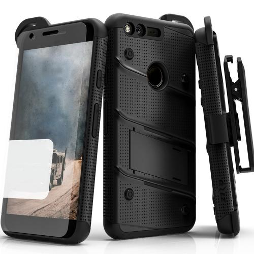 Google Pixel XL Case - [bolt] Heavy Duty Cover w/ Kickstand, Holster, Tempered Glass Screen Protector & Lanyard [Black ] - (ID:1BOLT-GOOGPLXL-BKBK)