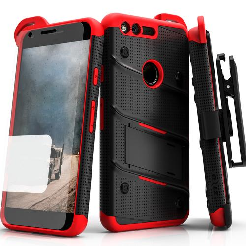 Google Pixel XL Case - [bolt] Heavy Duty Cover w/ Kickstand, Holster, Tempered Glass Screen Protector & Lanyard [Black/ Red] - (ID:1BOLT-GOOGPLXL-BKRD)