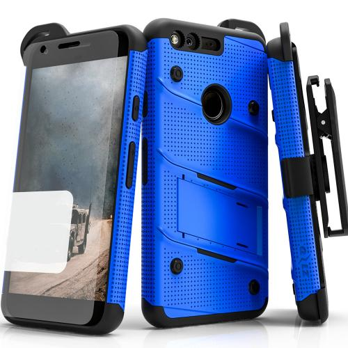 Google Pixel XL Case - [bolt] Heavy Duty Cover w/ Kickstand, Holster, Tempered Glass Screen Protector & Lanyard [Blue/ Black] - (ID:1BOLT-GOOGPLXL-BLBK)