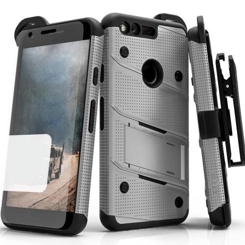 Google Pixel XL Case - [bolt] Heavy Duty Cover w/ Kickstand, Holster, Tempered Glass Screen Protector & Lanyard [Gray/ Black ] - (ID:1BOLT-GOOGPLXL-GRBK)