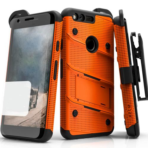 Google Pixel XL Case - [bolt] Heavy Duty Cover w/ Kickstand, Holster, Tempered Glass Screen Protector & Lanyard [Orange/ Black] - (ID:1BOLT-GOOGPLXL-ORBK)