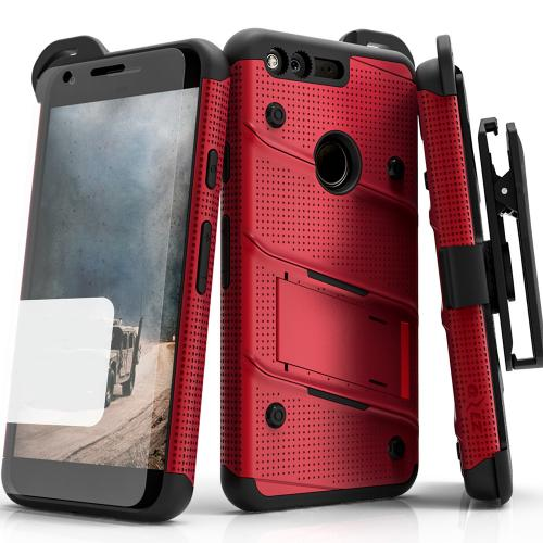 Google Pixel XL Case - [bolt] Heavy Duty Cover w/ Kickstand, Holster, Tempered Glass Screen Protector & Lanyard [Red/ Black] - (ID:1BOLT-GOOGPLXL-RDBK)