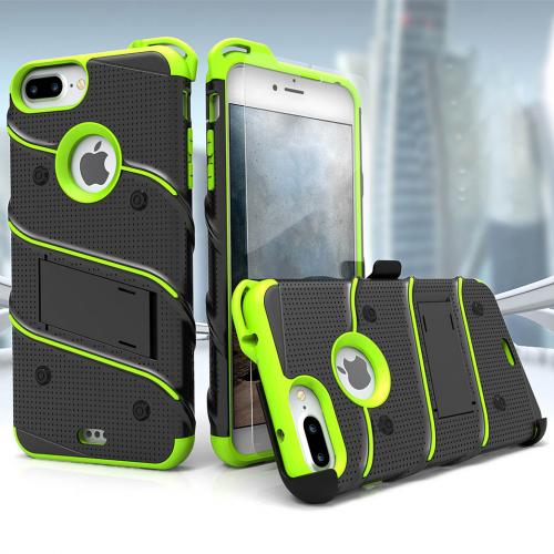 Apple iPhone 6S/6 Plus (5.5 inch) Case - [bolt] Heavy Duty Cover w/ Kickstand, Holster, Tempered Glass Screen Protector & Lanyard [Black/ Neon Green] - (ID:1BOLT-IPH6SPLUS-BKNGR)