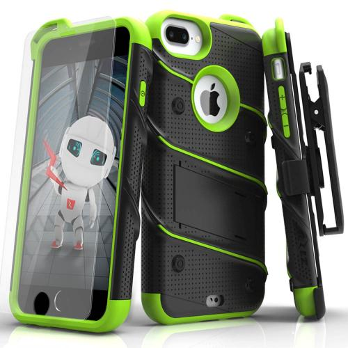 Apple iPhone 6S/6 Plus (5.5 inch) Case - [BOLT] Heavy Duty Cover w/ Kickstand, Holster, Tempered Glass Screen Protector & Lanyard [Black/ Neon Green]