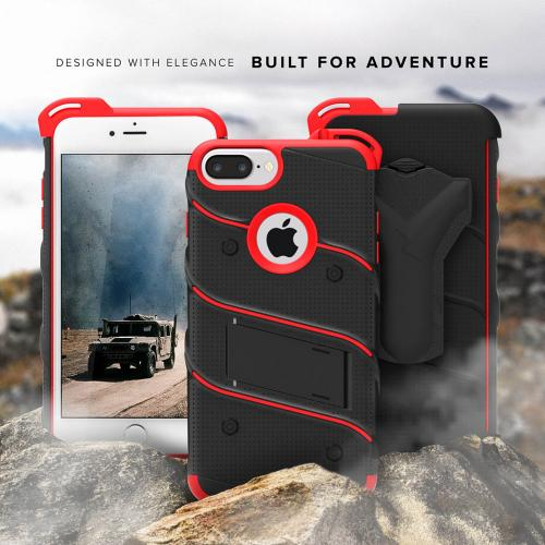 Apple iPhone 6S/6 Plus (5.5 inch) Case - [bolt] Heavy Duty Cover w/ Kickstand, Holster, Tempered Glass Screen Protector & Lanyard [Black/ Red] - (ID:1BOLT-IPH6SPLUS-BKRD)
