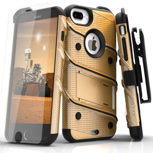 Apple iPhone 6S/6 Plus (5.5 inch) Case - [bolt] Heavy Duty Cover w/ Kickstand, Holster, Tempered Glass Screen Protector & Lanyard [Gold] - (ID:1BOLT-IPH6SPLUS-GDBK)