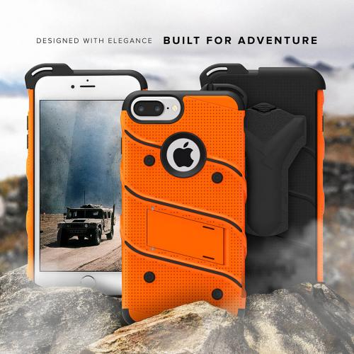 [Apple iPhone 6S/6 Plus] (5.5 inch) Case - [BOLT] Heavy Duty Cover w/ Kickstand, Holster, Tempered Glass Screen Protector & Lanyard [Orange]