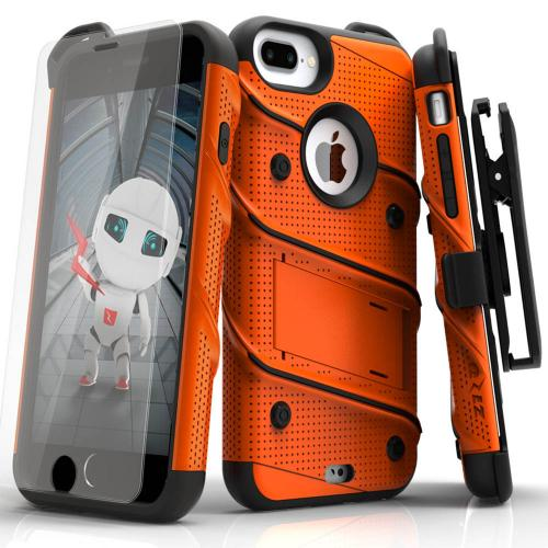 Apple iPhone 6S/6 Plus (5.5 inch) Case - [bolt] Heavy Duty Cover w/ Kickstand, Holster, Tempered Glass Screen Protector & Lanyard [Orange] - (ID:1BOLT-IPH6SPLUS-ORBK)