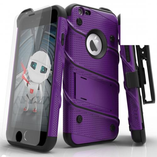 Apple iPhone 6S/6 Plus (5.5 inch) Case - [bolt] Heavy Duty Cover w/ Kickstand, Holster, Tempered Glass Screen Protector & Lanyard [Purple] - (ID:1BOLT-IPH6SPLUS-PUBK)