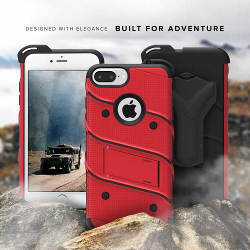 [Apple iPhone 6S/6 Plus] (5.5 inch) Case - [BOLT] Heavy Duty Cover w/ Kickstand, Holster, Tempered Glass Screen Protector & Lanyard [Red]