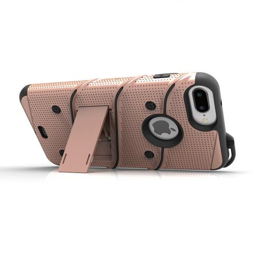 Apple iPhone 6S/6 Plus (5.5 inch) Case - [bolt] Heavy Duty Cover w/ Kickstand, Holster, Tempered Glass Screen Protector & Lanyard [Rose Gold] - (ID:1BOLT-IPH6SPLUS-RGDBK)