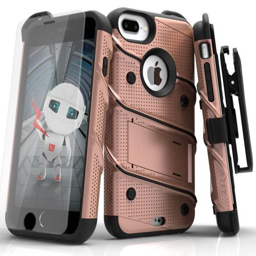 Apple iPhone 6S/6 Plus (5.5 inch) Case - [BOLT] Heavy Duty Cover w/ Kickstand, Holster, Tempered Glass Screen Protector & Lanyard [Rose Gold]