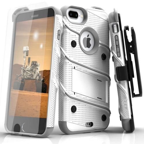 Apple iPhone 6S/6 Plus (5.5 inch) Case - [bolt] Heavy Duty Cover w/ Kickstand, Holster, Tempered Glass Screen Protector & Lanyard [White/ Gray] - (ID:1BOLT-IPH6SPLUS-WHGR)