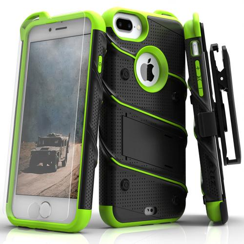 Apple iPhone 7 Plus (5.5 inch) Case - [BOLT] Heavy Duty Cover w/ Kickstand, Holster, Tempered Glass Screen Protector & Lanyard [Black/ Neon Green]