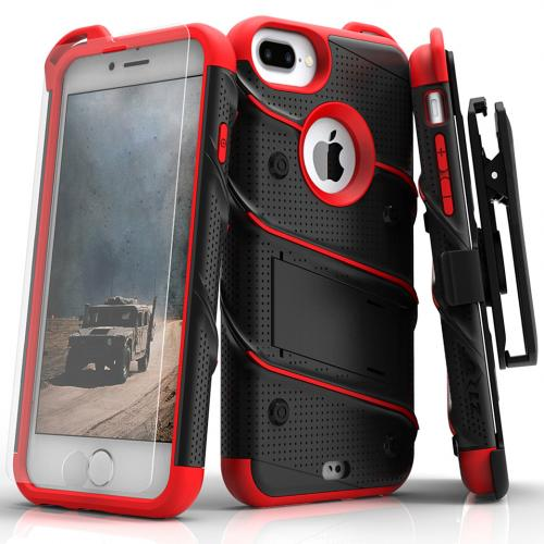 Apple iPhone 7 Plus (5.5 inch) Case - [BOLT] Heavy Duty Cover w/ Kickstand, Holster, Tempered Glass Screen Protector & Lanyard [Black/ Red]