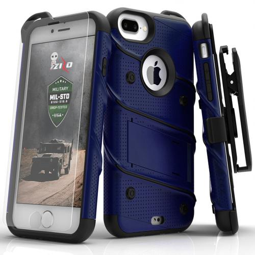 Apple iPhone 7 Plus (5.5 inch) Case - [BOLT] Heavy Duty Cover w/ Kickstand, Holster, Tempered Glass Screen Protector & Lanyard [Blue/ Black]