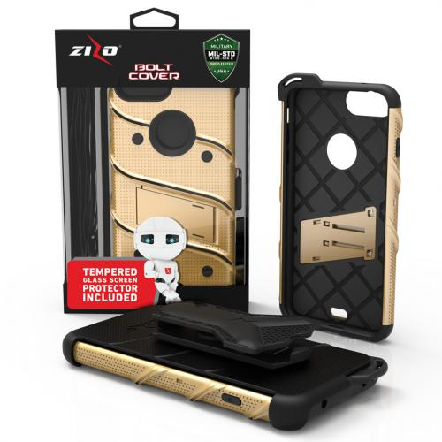 Apple iPhone 7 Plus (5.5 inch) Case - [BOLT] Heavy Duty Cover w/ Kickstand, Holster, Tempered Glass Screen Protector & Lanyard [Gold/ Black]