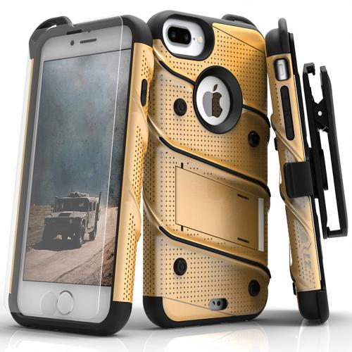 [Apple iPhone 7 Plus] (5.5 inch) Case - [BOLT] Heavy Duty Cover w/ Kickstand, Holster, Tempered Glass Screen Protector & Lanyard [Gold/ Black]