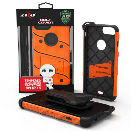 Apple iPhone 7 Plus (5.5 inch) Case - [bolt] Heavy Duty Cover w/ Kickstand, Holster, Tempered Glass Screen Protector & Lanyard [Orange/ Black] - (ID:1BOLT-IPH7PLUS-ORBK)
