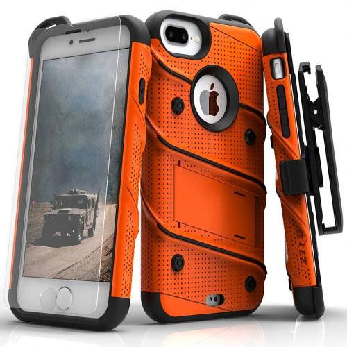 [Apple iPhone 7 Plus] (5.5 inch) Case - [BOLT] Heavy Duty Cover w/ Kickstand, Holster, Tempered Glass Screen Protector & Lanyard [Orange/ Black]