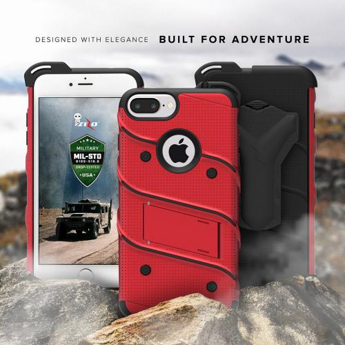 Apple iPhone 7 Plus (5.5 inch) Case - [bolt] Heavy Duty Cover w/ Kickstand, Holster, Tempered Glass Screen Protector & Lanyard [Red/ Black] - (ID:1BOLT-IPH7PLUS-RDBK)