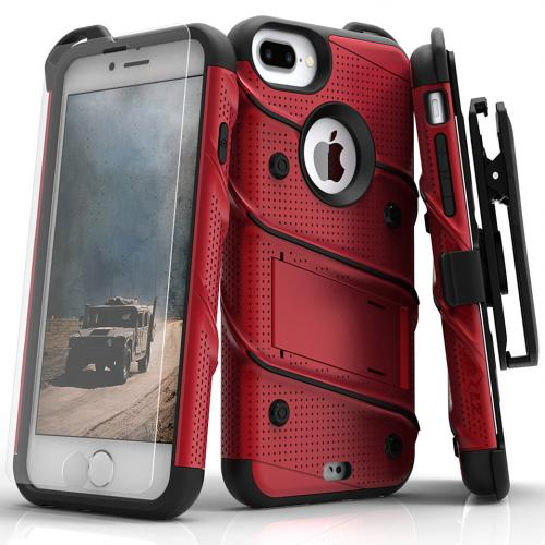 Apple iPhone 7 Plus (5.5 inch) Case - [BOLT] Heavy Duty Cover w/ Kickstand, Holster, Tempered Glass Screen Protector & Lanyard [Red/ Black]