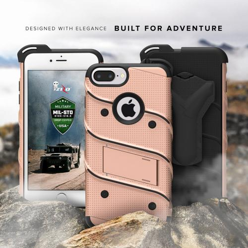 [Apple iPhone 7 Plus] (5.5 inch) Case - [BOLT] Heavy Duty Cover w/ Kickstand, Holster, Tempered Glass Screen Protector & Lanyard [Rose Gold/ Black]