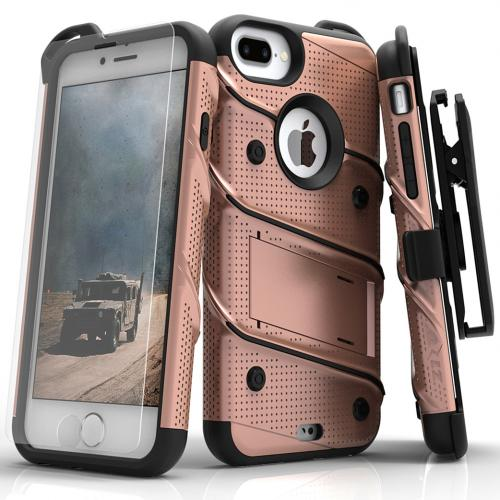 Apple iPhone 7 Plus (5.5 inch) Case - [BOLT] Heavy Duty Cover w/ Kickstand, Holster, Tempered Glass Screen Protector & Lanyard [Rose Gold/ Black]