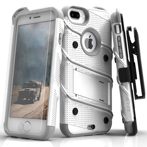 Apple iPhone 7 Plus (5.5 inch) Case - [BOLT] Heavy Duty Cover w/ Kickstand, Holster, Tempered Glass Screen Protector & Lanyard [White/ Gray]