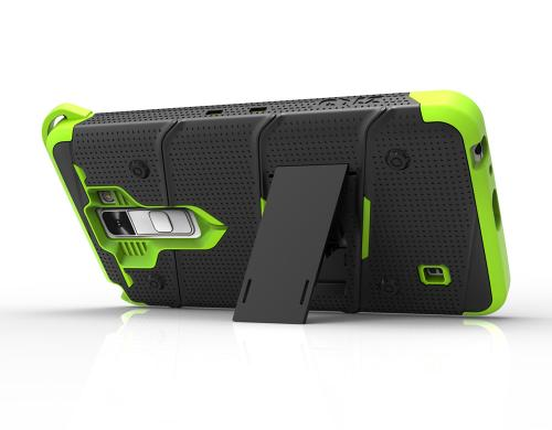 [LG Stylo 2] Case - [BOLT] Heavy Duty Cover w/ Kickstand, Holster, Tempered Glass Screen Protector & Lanyard [Black/ Neon Green]